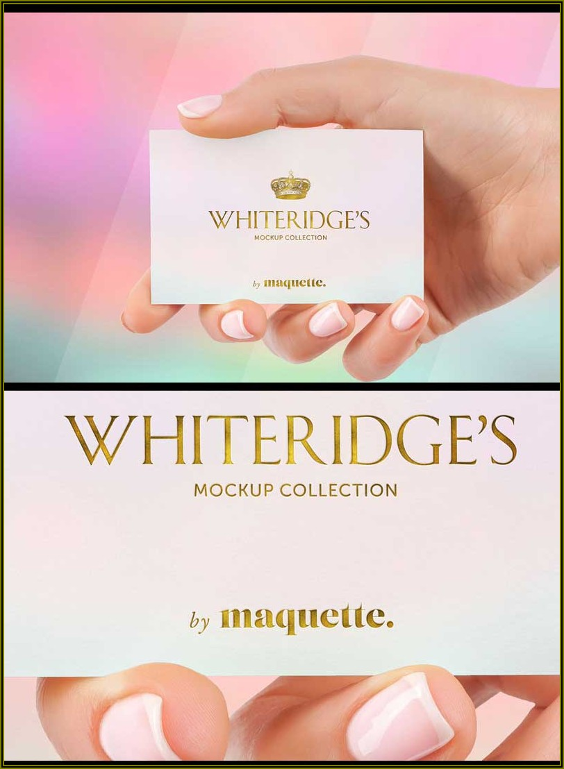 Gold Embossed Business Card Mockup