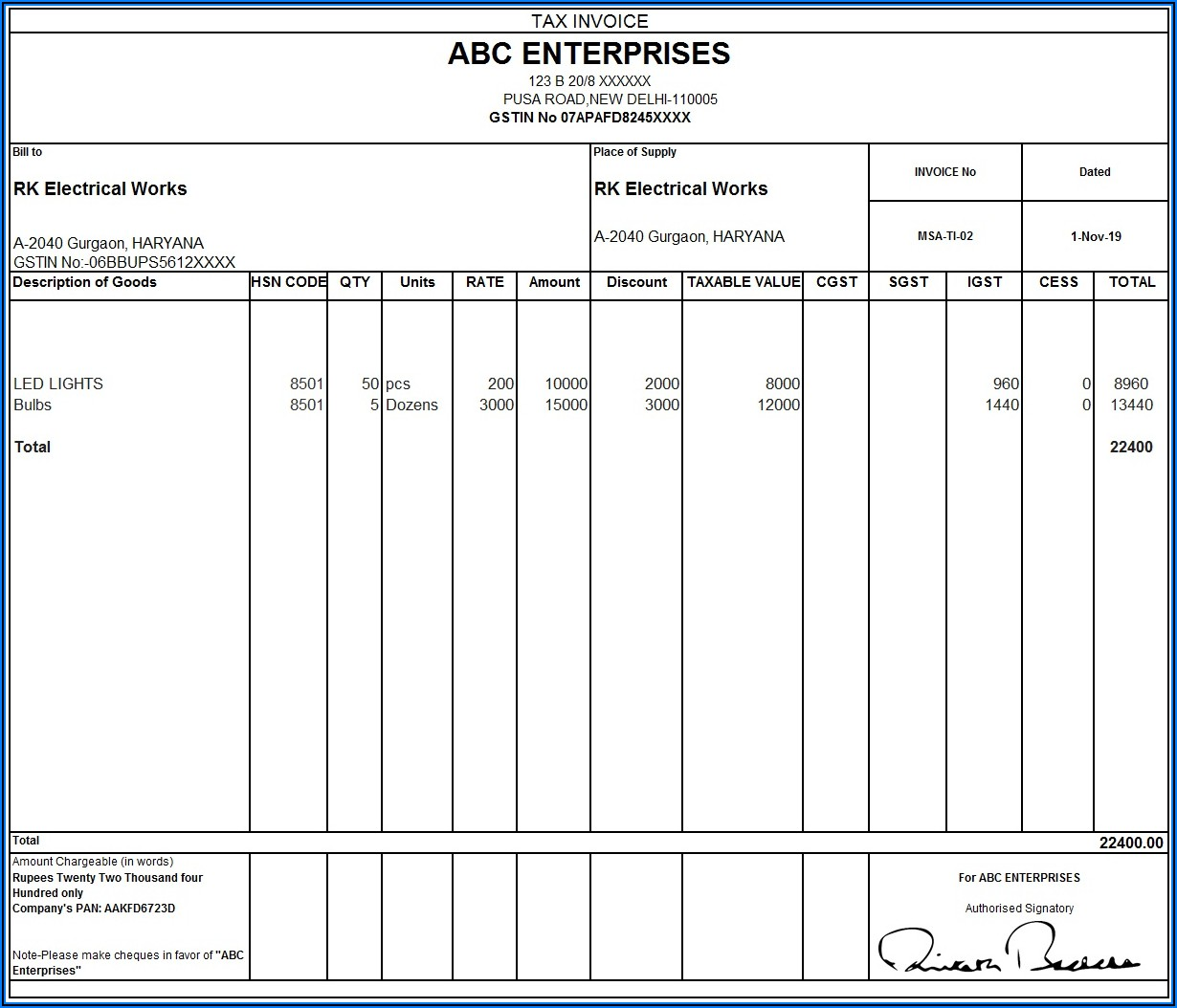 Gst Tax Invoice Format In Word Free Download
