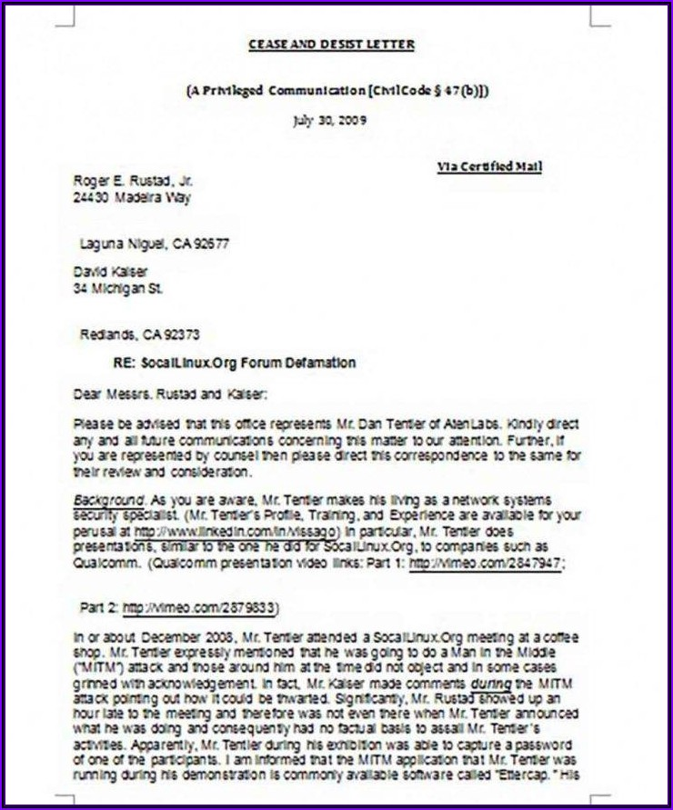 Harassment Personal Cease And Desist Letter Template
