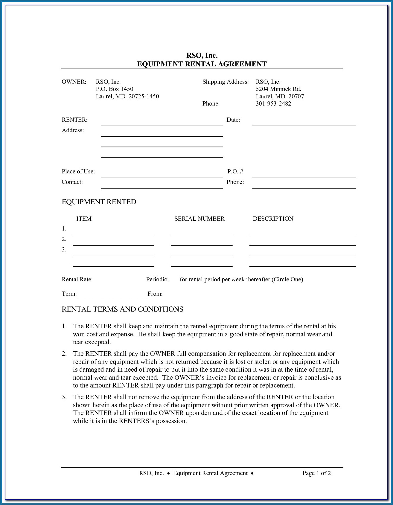 Heavy Equipment Rental Agreement Forms Free