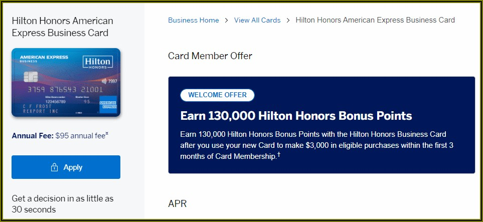 Hilton Business Card Offer