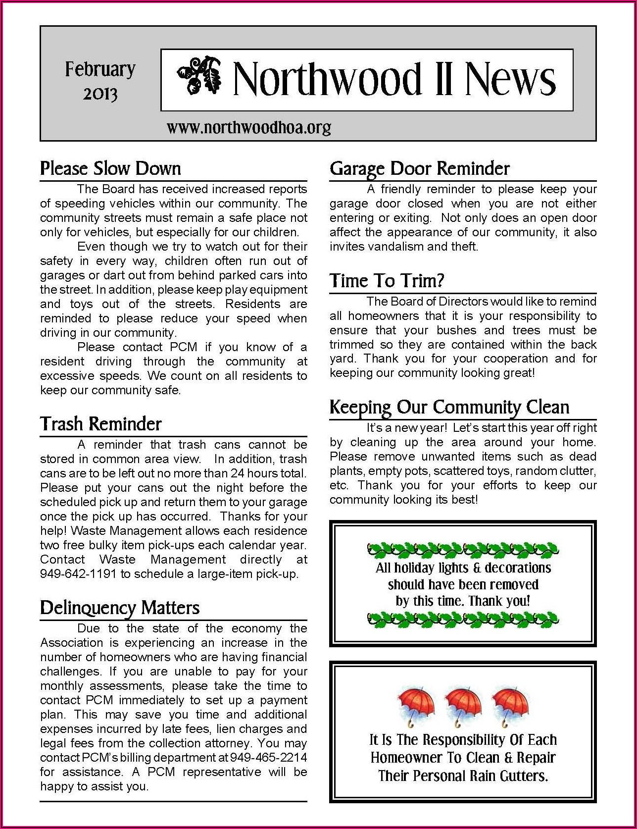 Homeowners Association Neighborhood Newsletter Templates