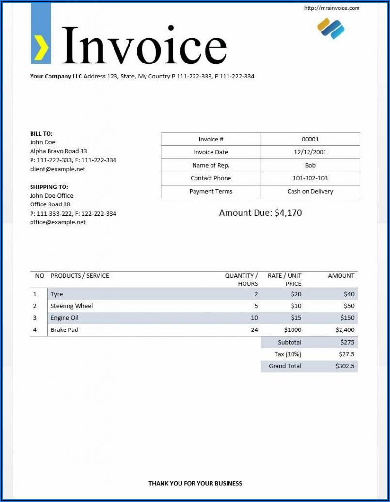 Invoice Template Excel Download Free Australia