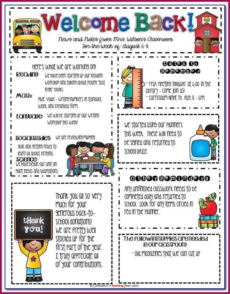 Kelly's Kindergarten Newsletter Templates