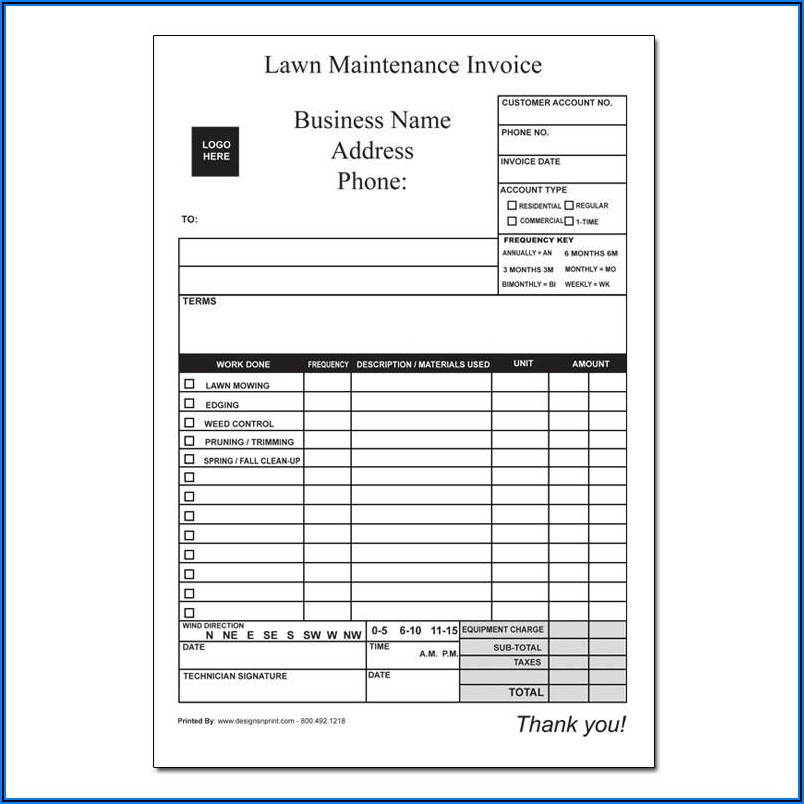 Lawn Maintenance Invoice Examples