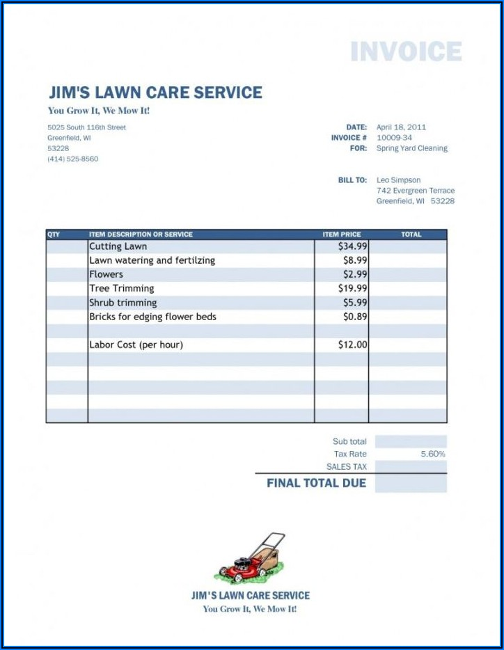 Lawn Service Receipt Template