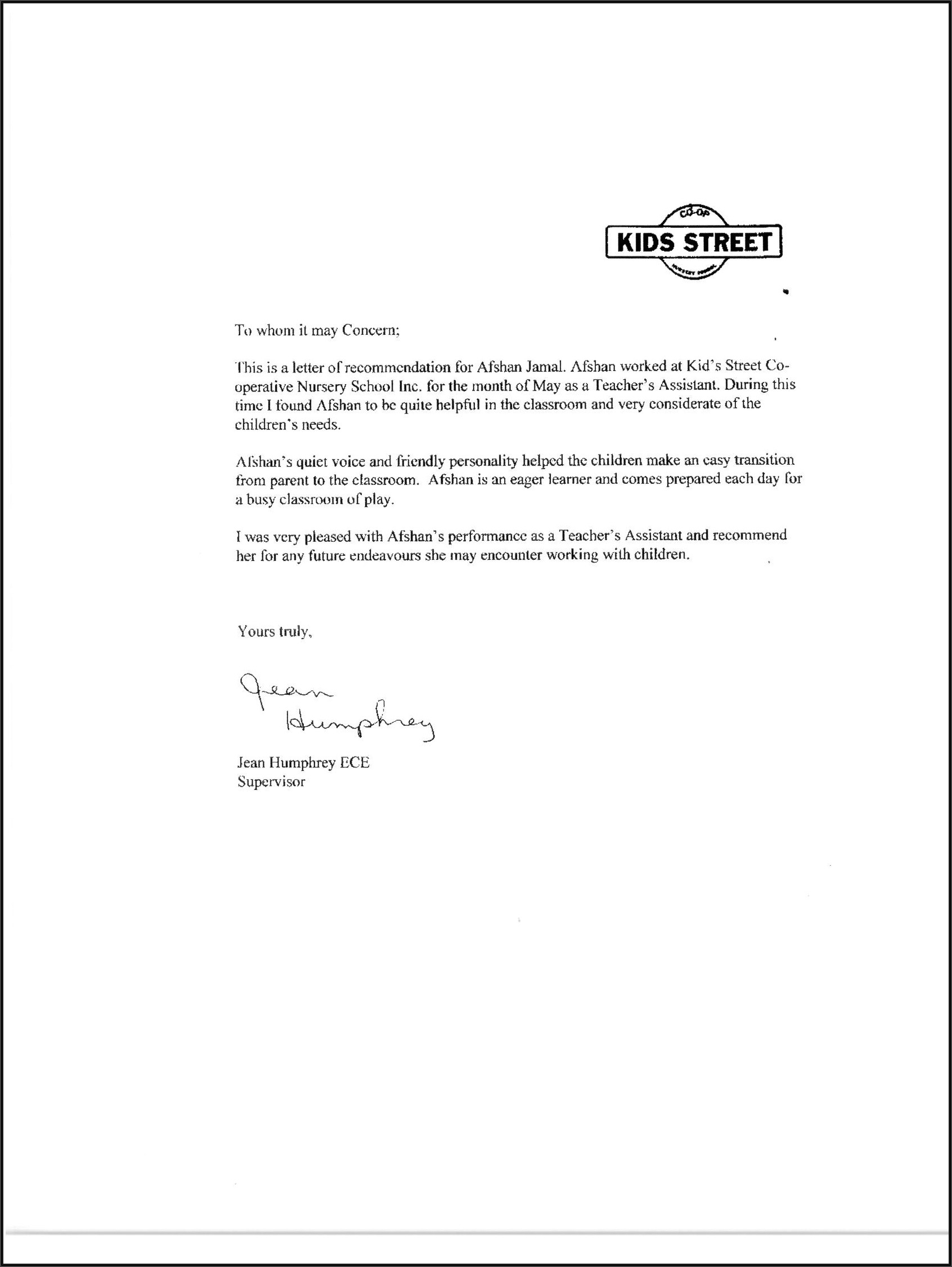 Letter Of Recommendation For A Teacher Colleague Doc