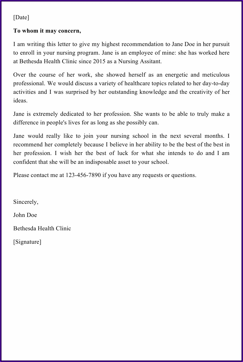 Letter Of Recommendation For Colleague Doctor