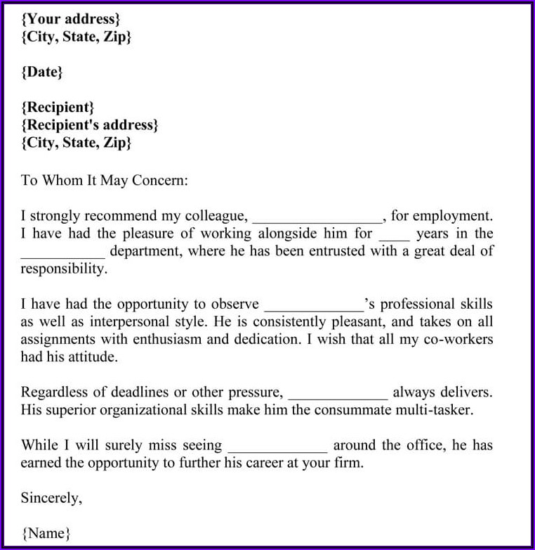 Letter Of Recommendation For Colleague Sample