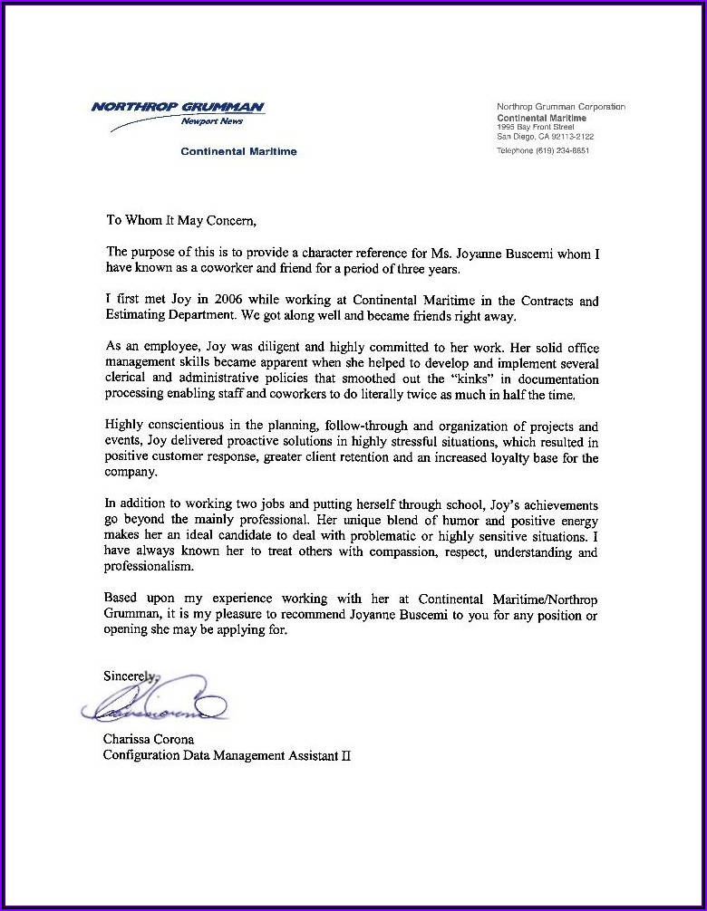 Letter Of Recommendation For Colleague Teacher
