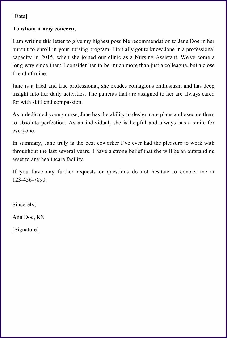 Letter Of Recommendation For Coworker For Nursing School