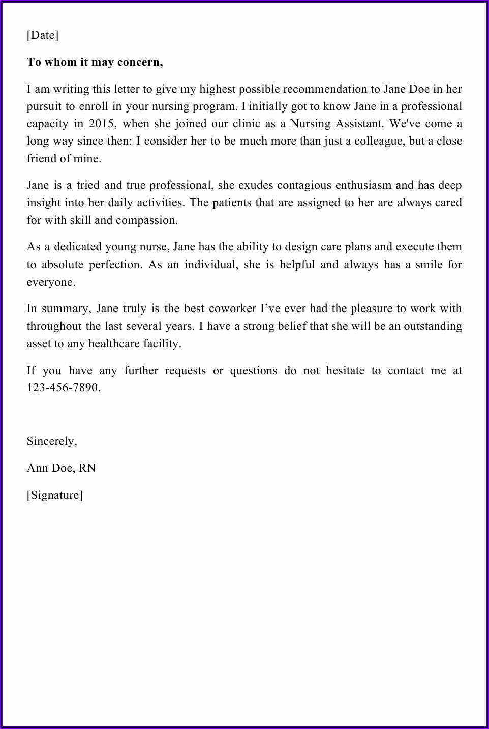 Letter Of Recommendation For Coworker Nursing Assistant