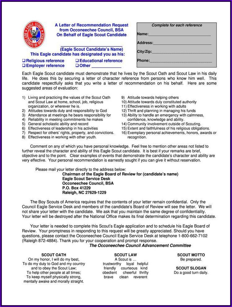 Letter Of Recommendation For Eagle Scout Award Form