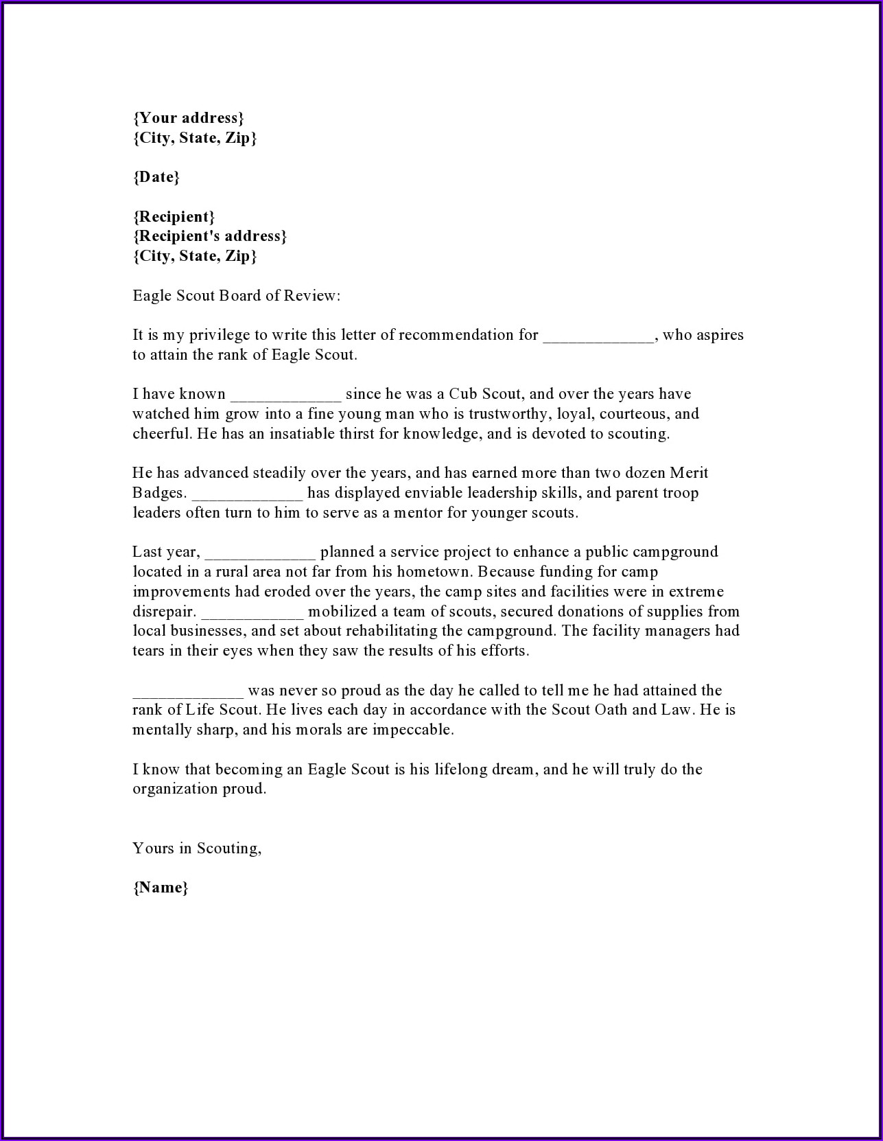 Letter Of Recommendation For Employee Doc