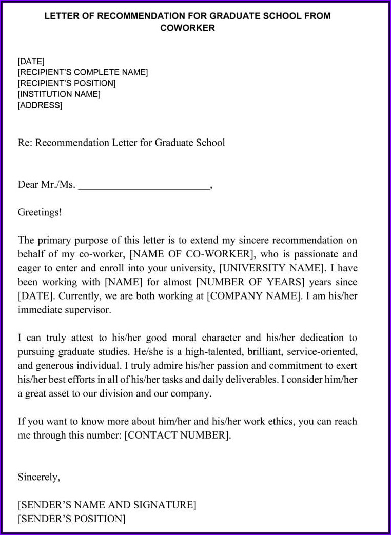 Letter Of Recommendation For Employee For Graduate School
