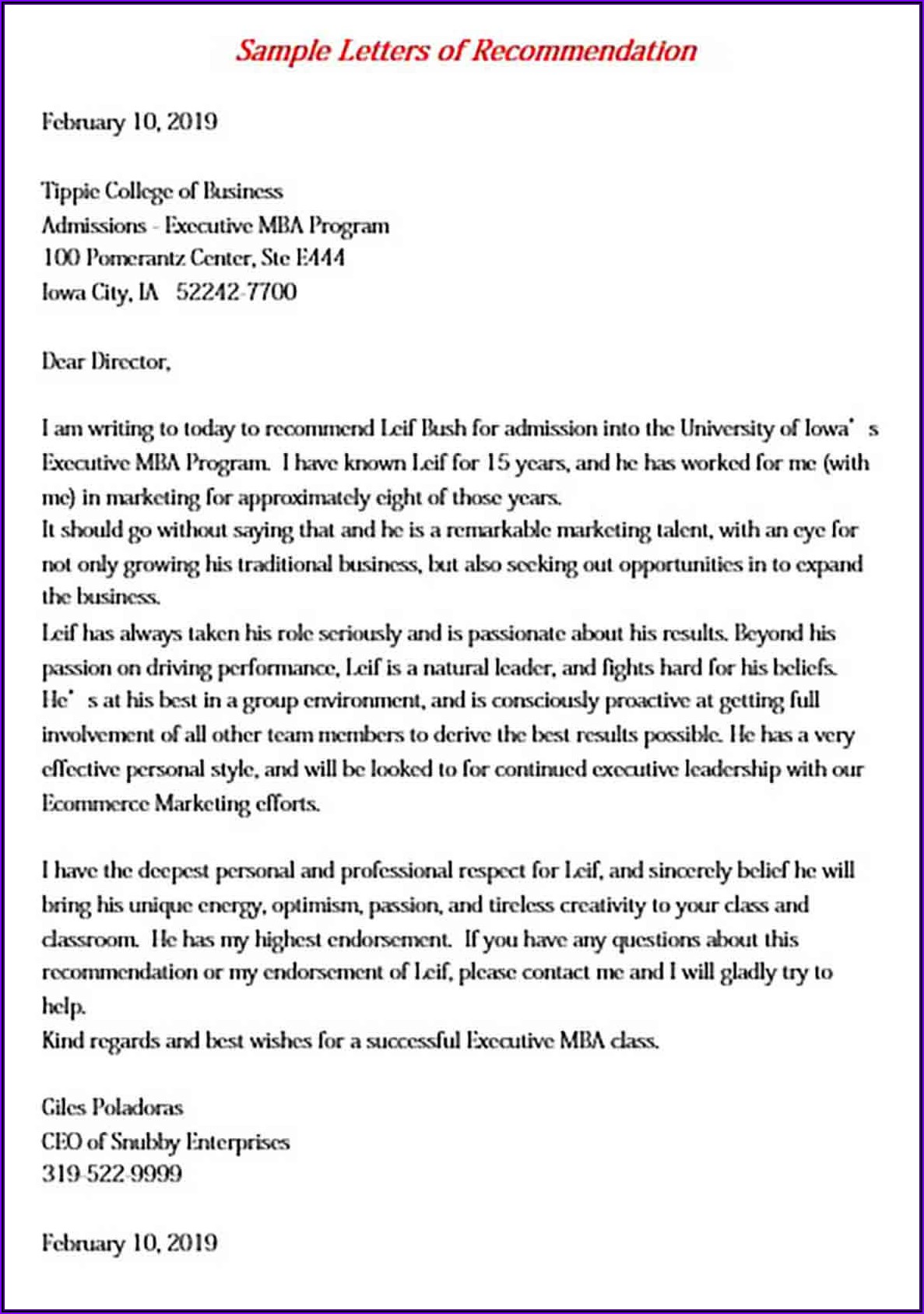 Letter Of Recommendation For Employee Pdf