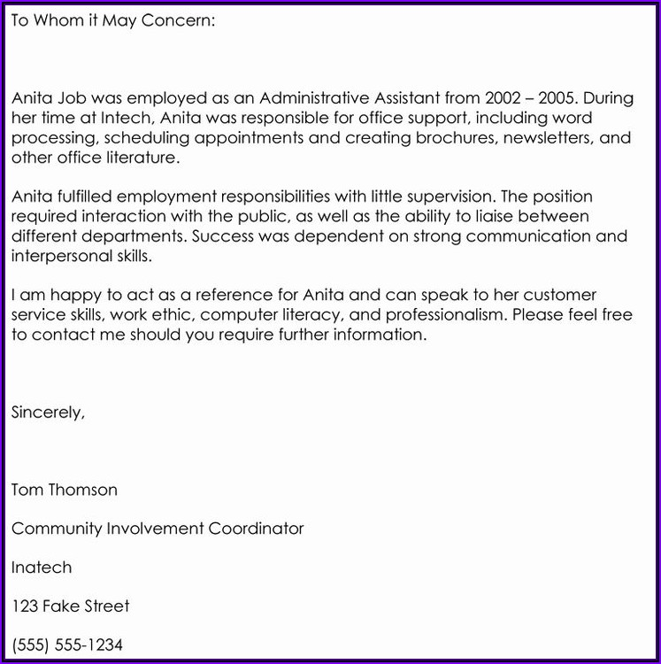 Letter Of Recommendation For Employee Samples
