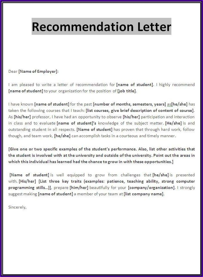 Letter Of Recommendation For Employee Template Word