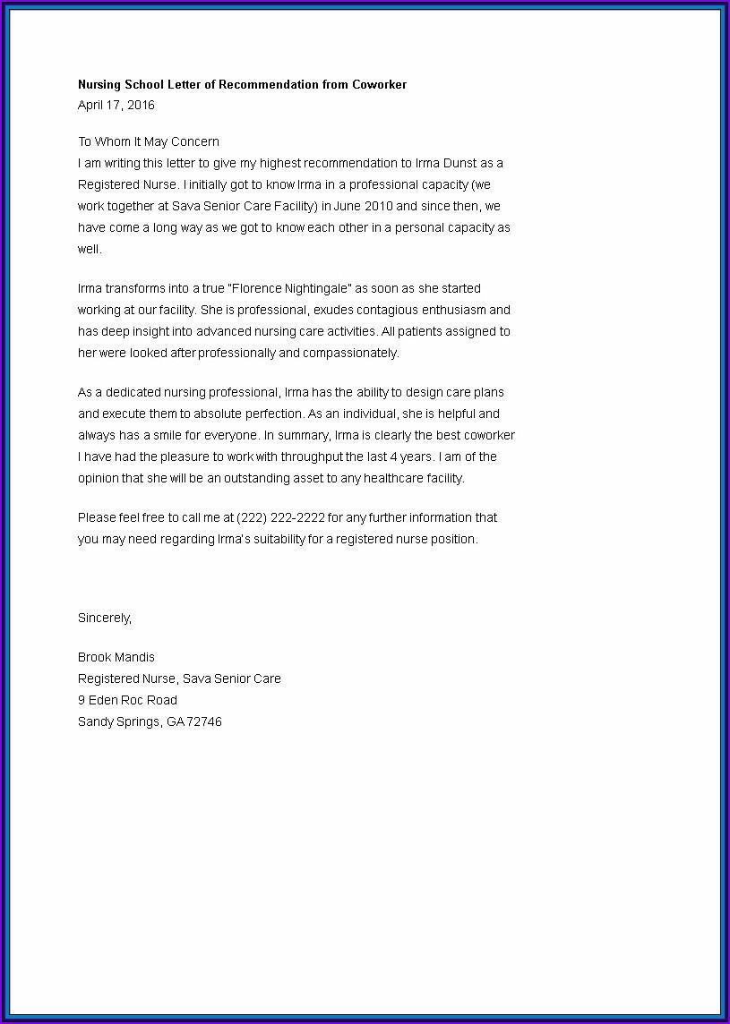 Letter Of Recommendation For Nurse Colleague