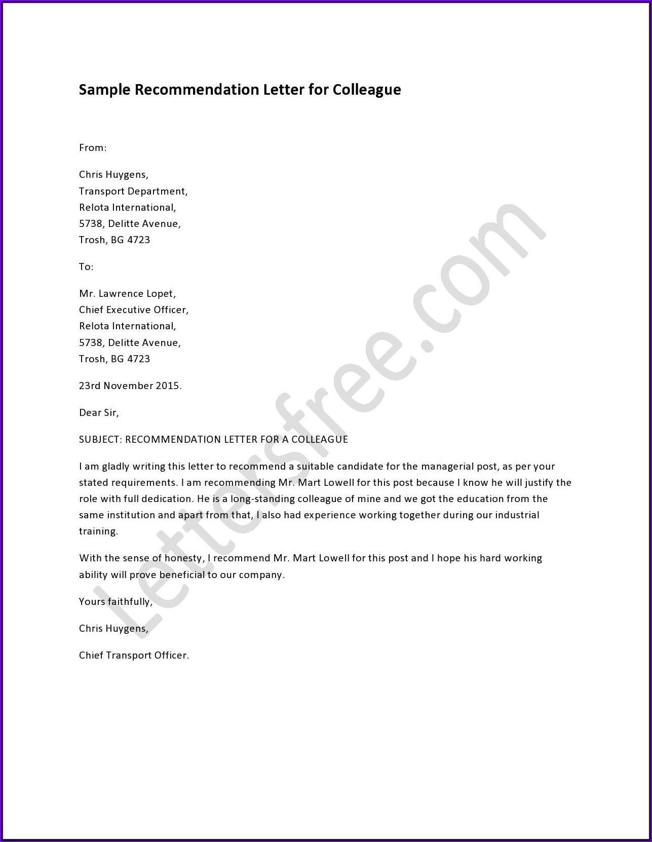 Letters Of Recommendation For Colleague Samples