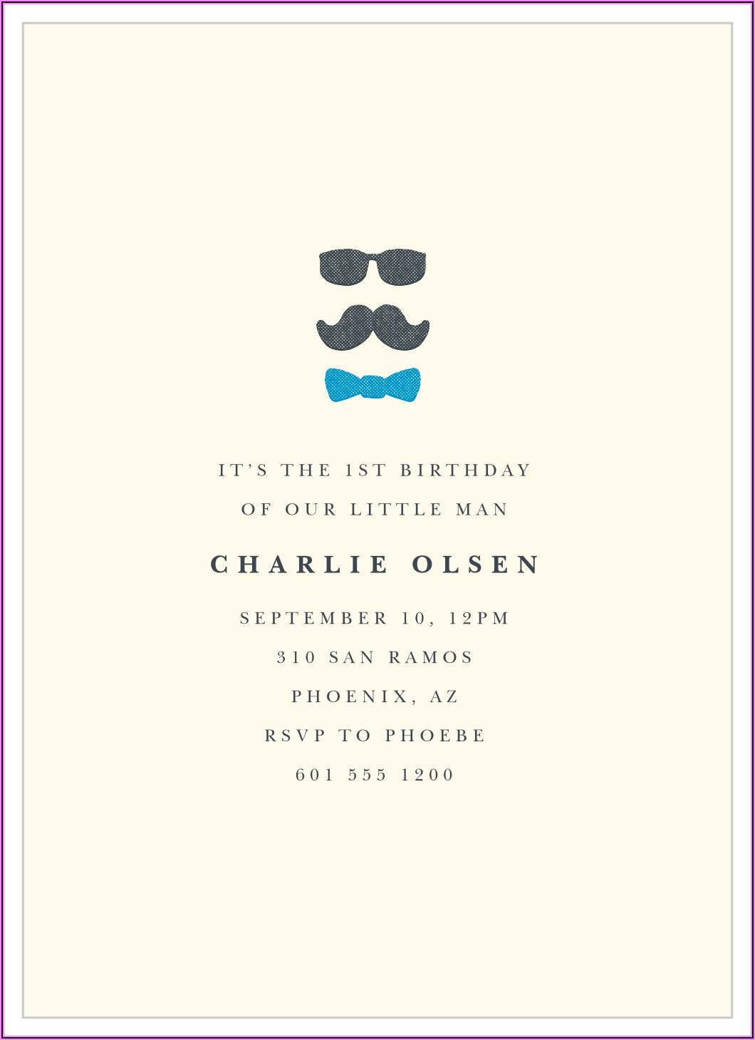 Little Man First Birthday Invitations