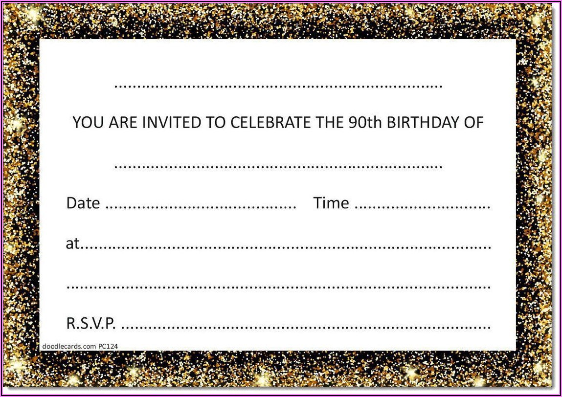Male 90th Birthday Party Invitations