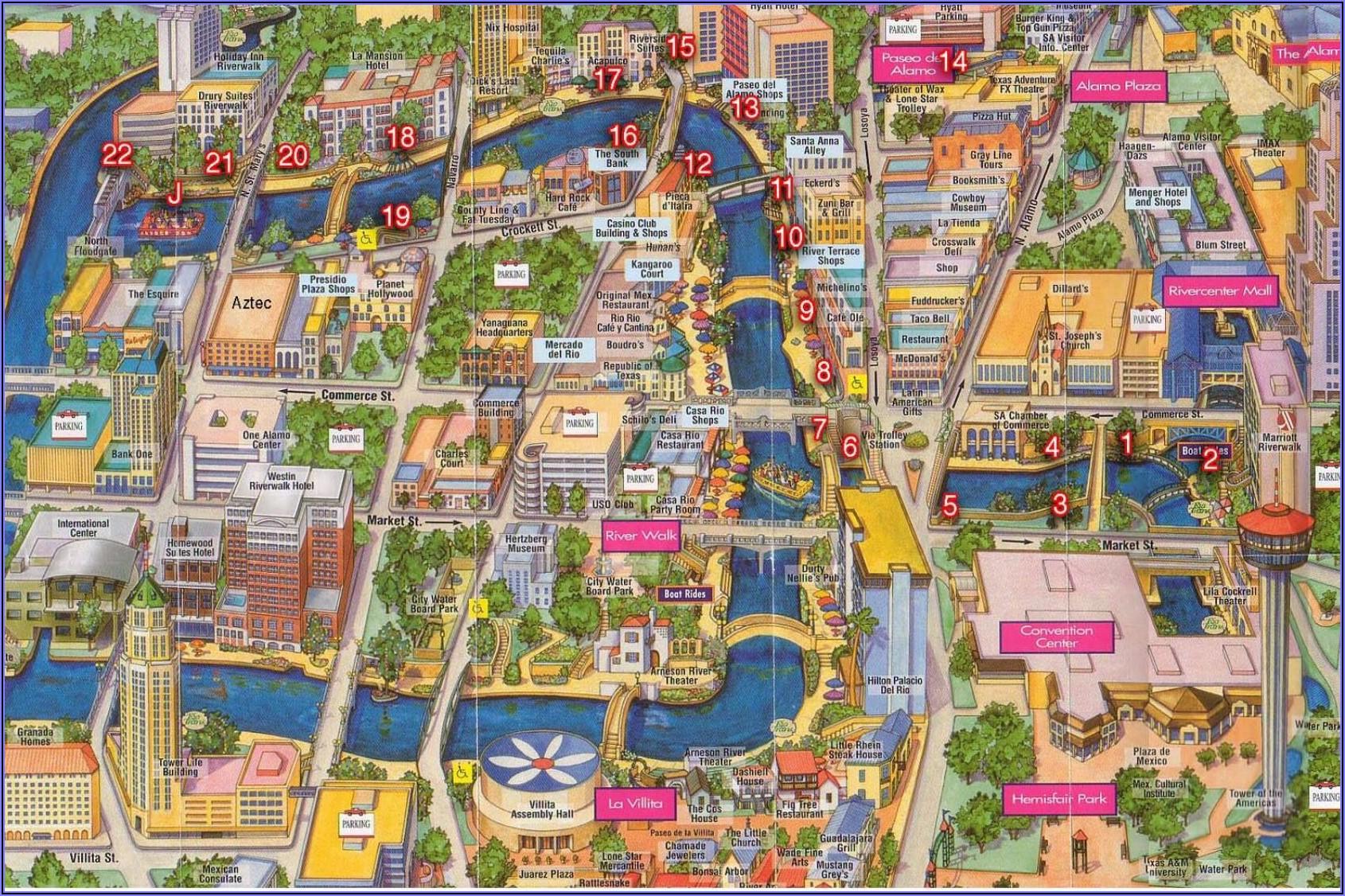 Map Of Downtown San Antonio Riverwalk Area