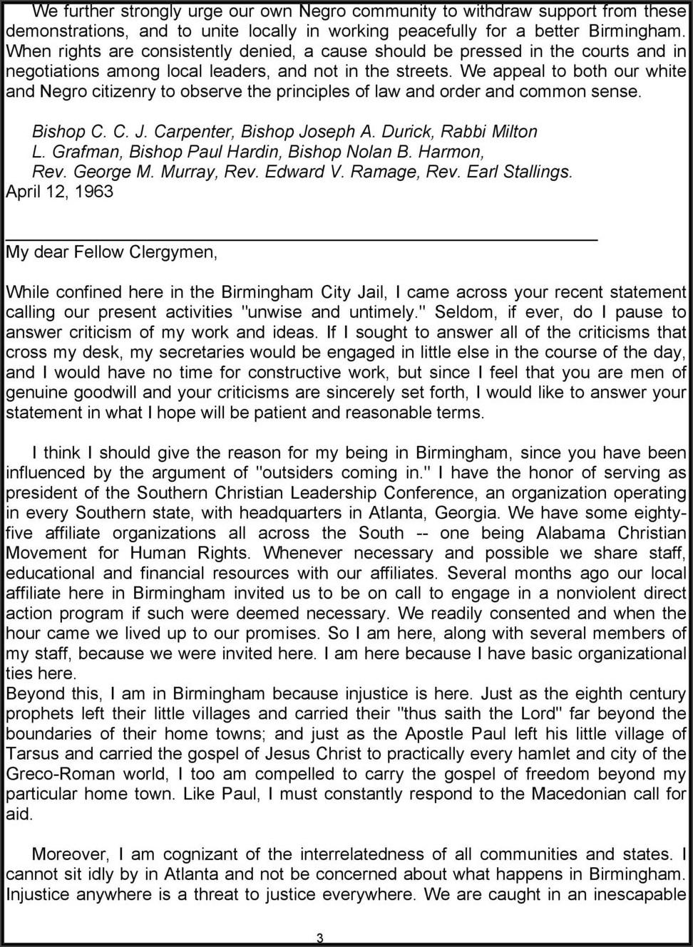 Martin Luther King Jr Letter From Birmingham Jail Pdf