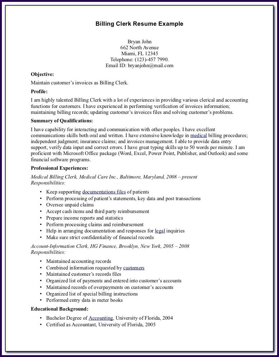 Medical Billing And Coding Resume Summary
