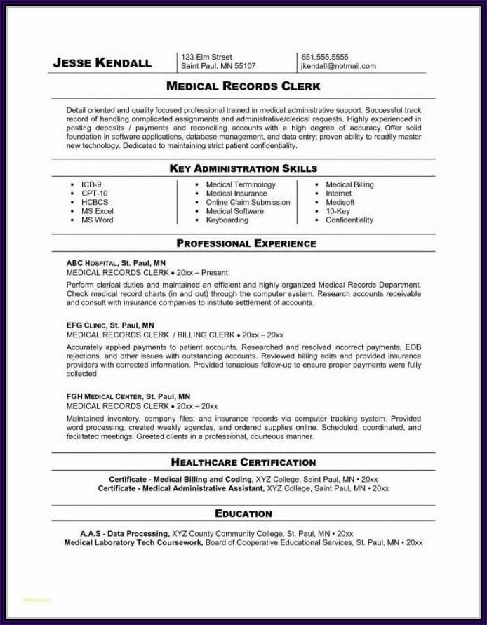 Medical Billing Coding Resume Sample Entry Level