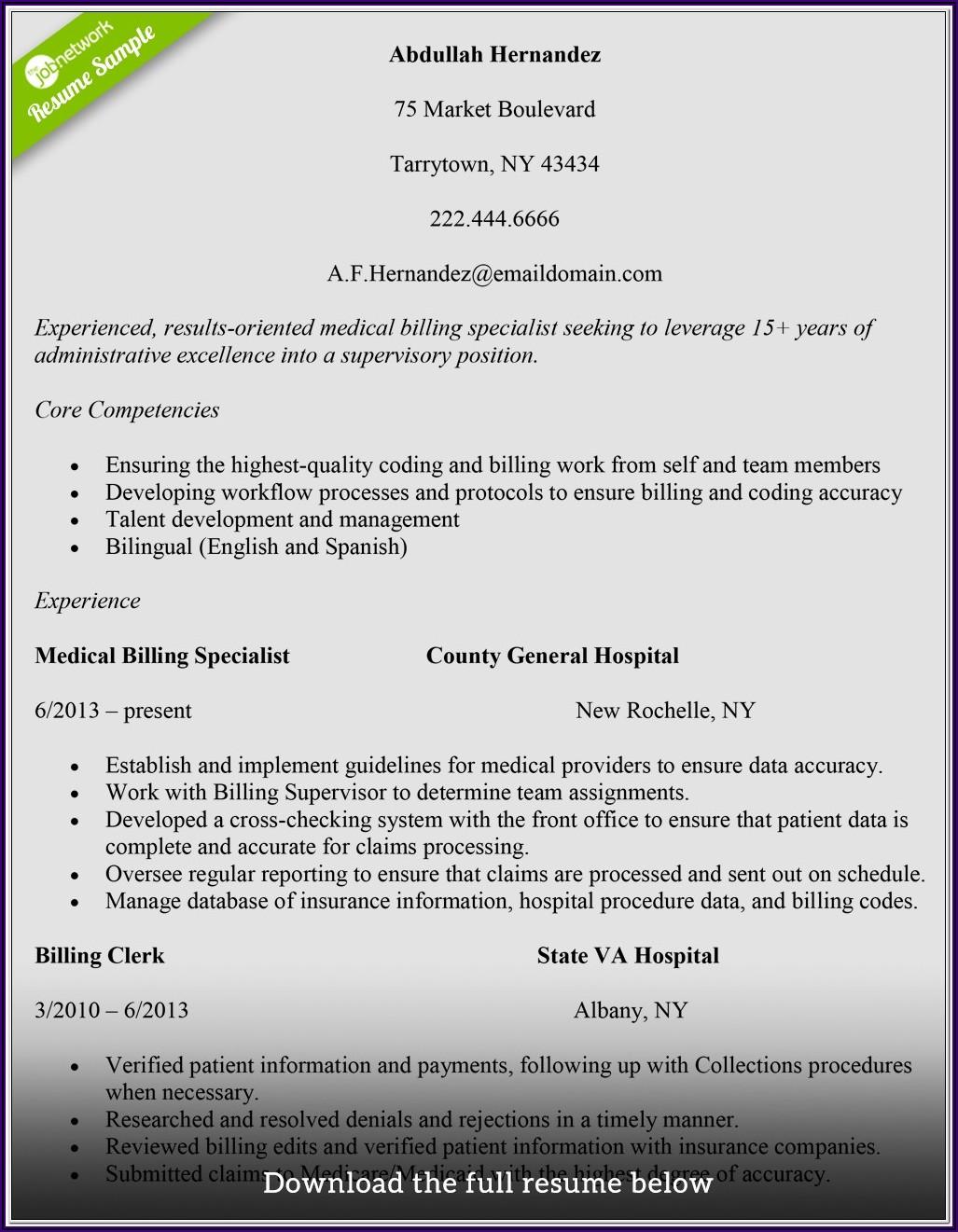 Medical Coding Fresher Resume Samples