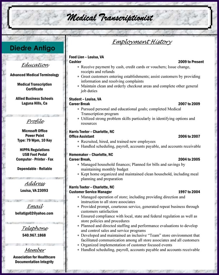 Medical Coding Resume Cover Letter Examples