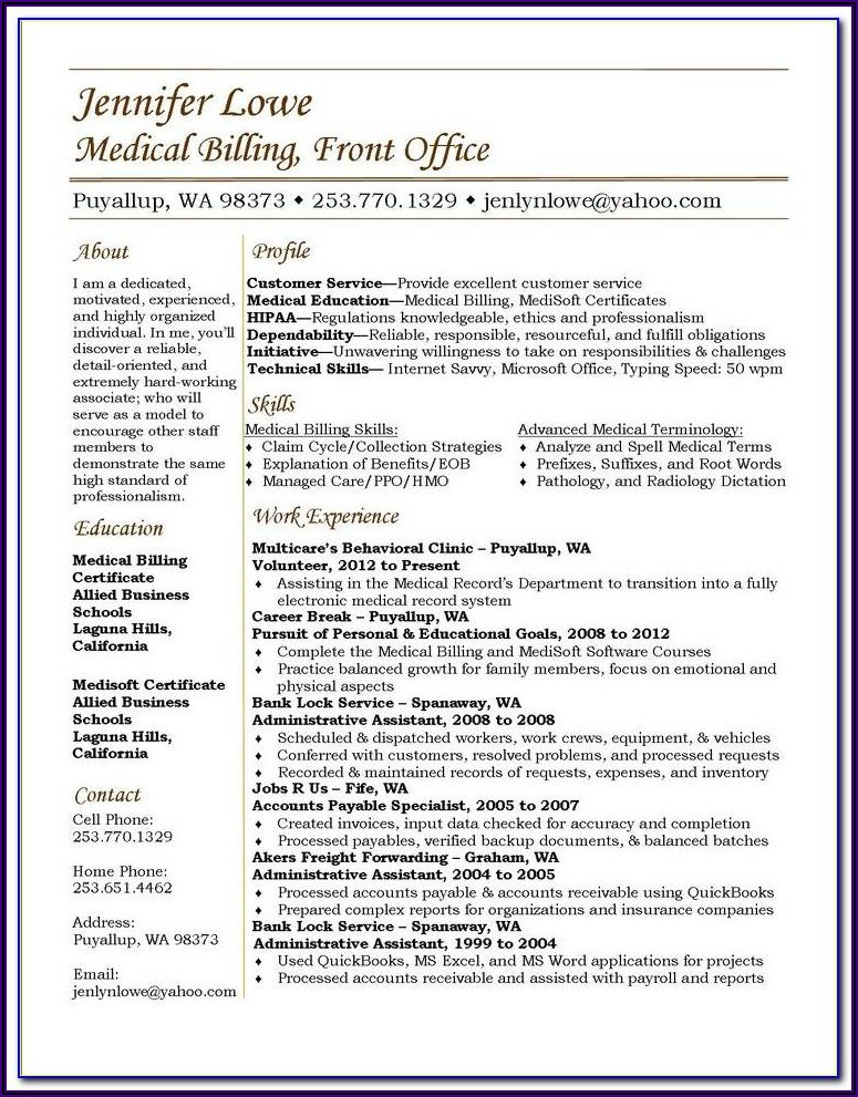 Medical Coding Resume Examples For Freshers