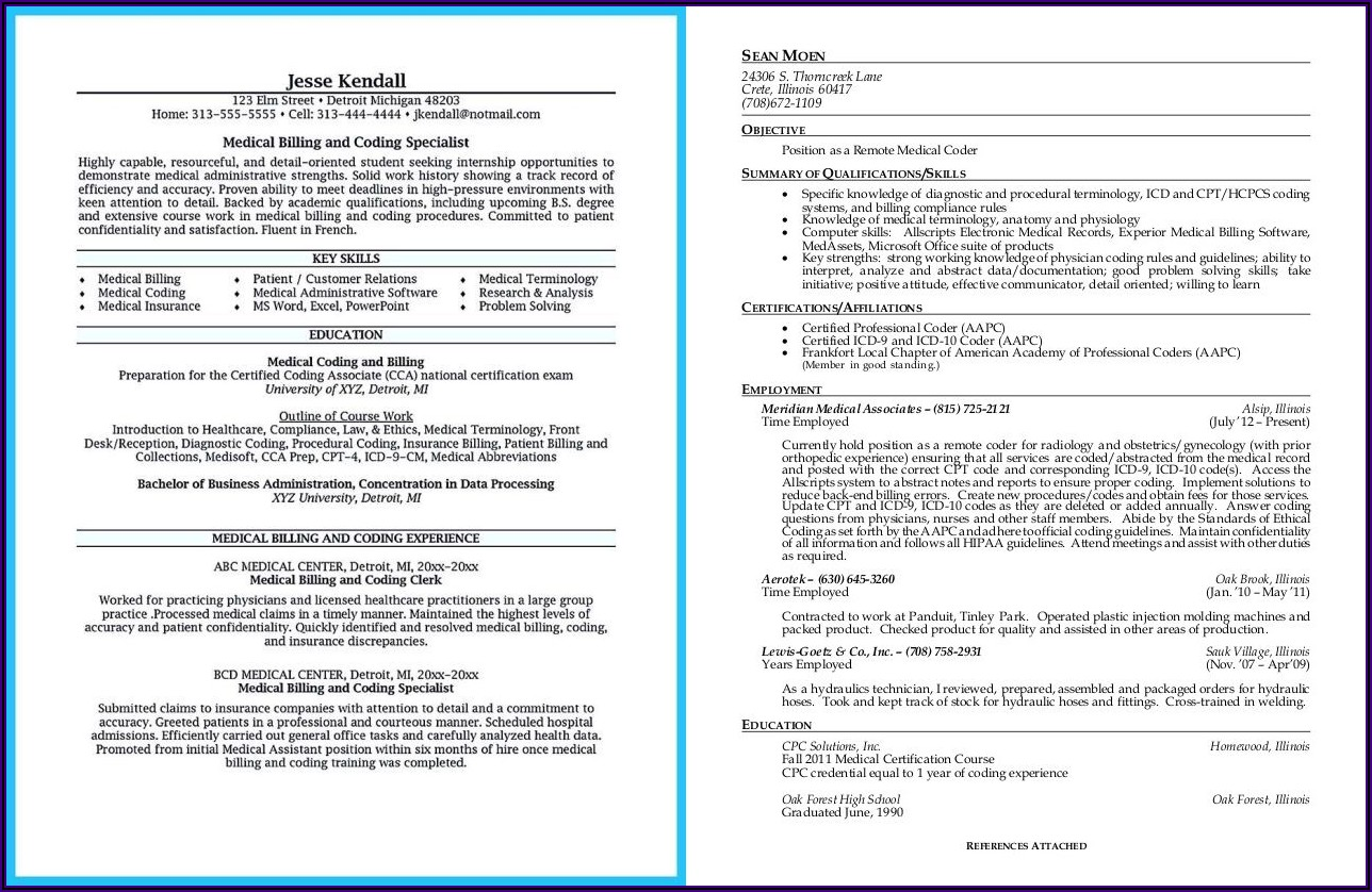 Medical Coding Resume Examples