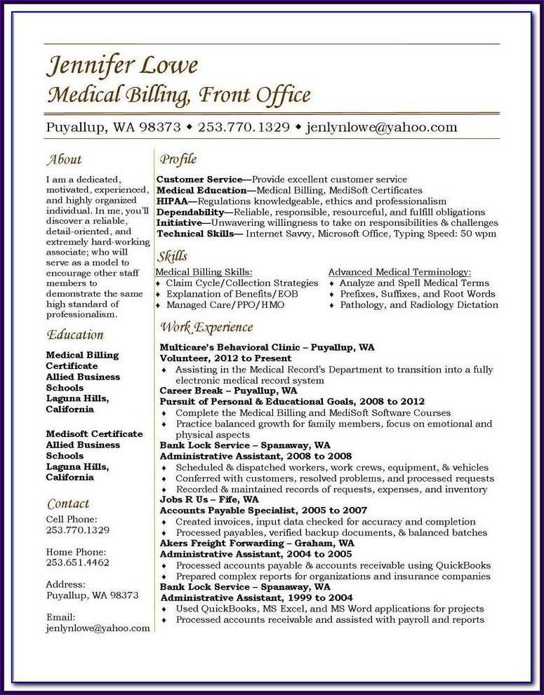 Medical Coding Resume Format Download