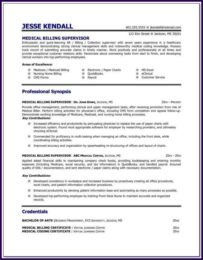 Medical Coding Resume Format