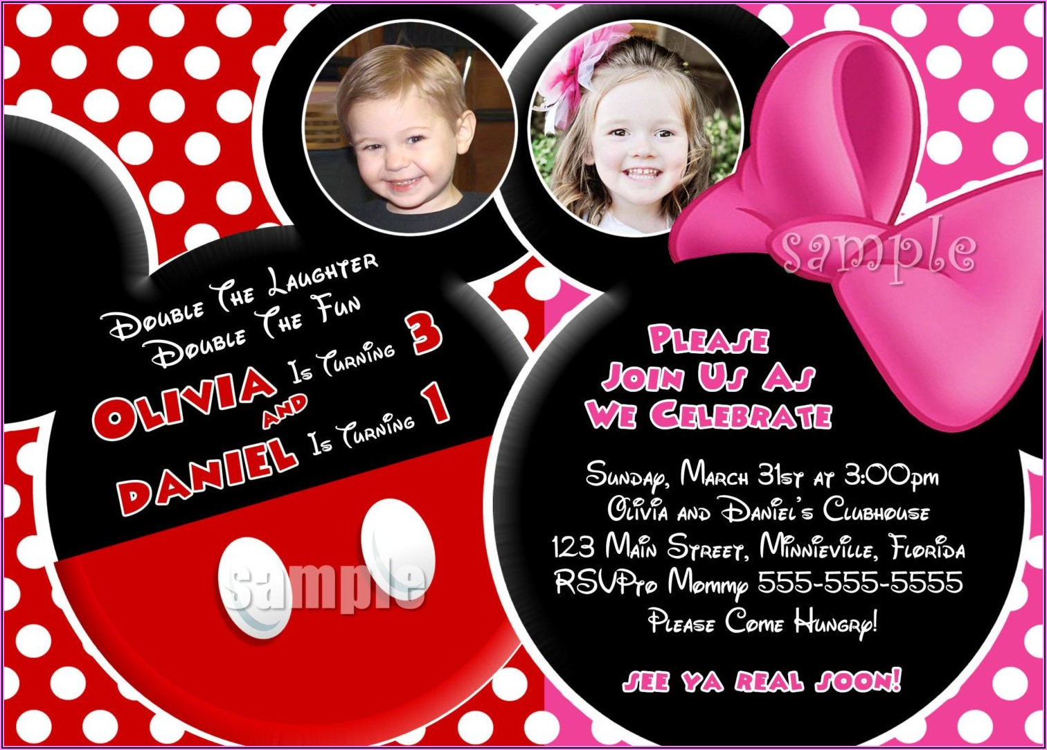 Mickey And Minnie Mouse Birthday Invitation Cards