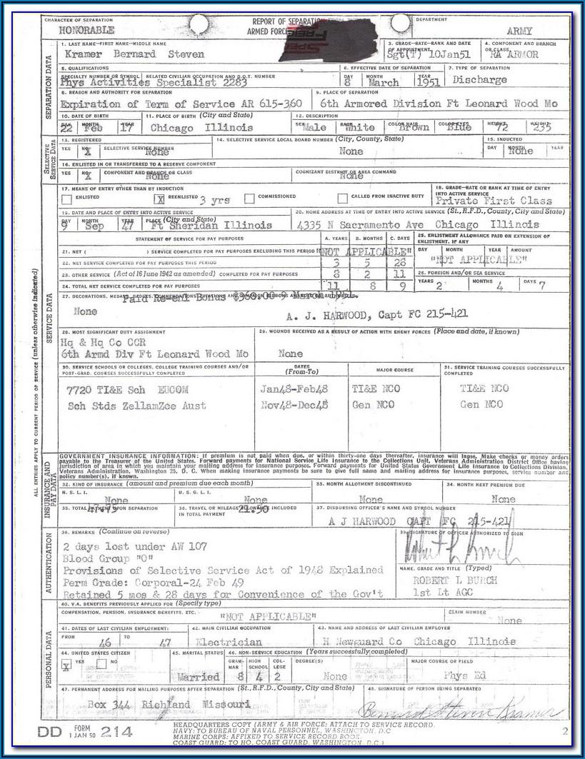 Military Form Dd 214