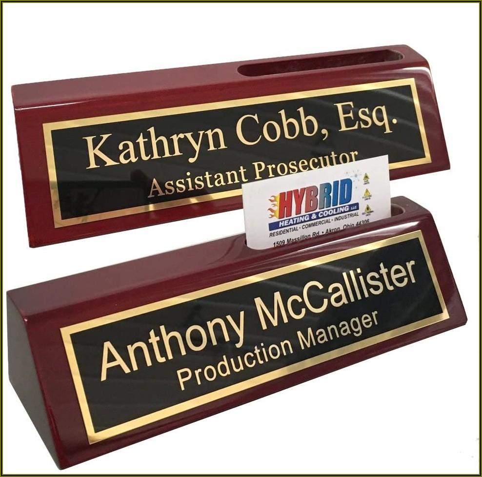 Monogrammed Business Card Holder For Desk
