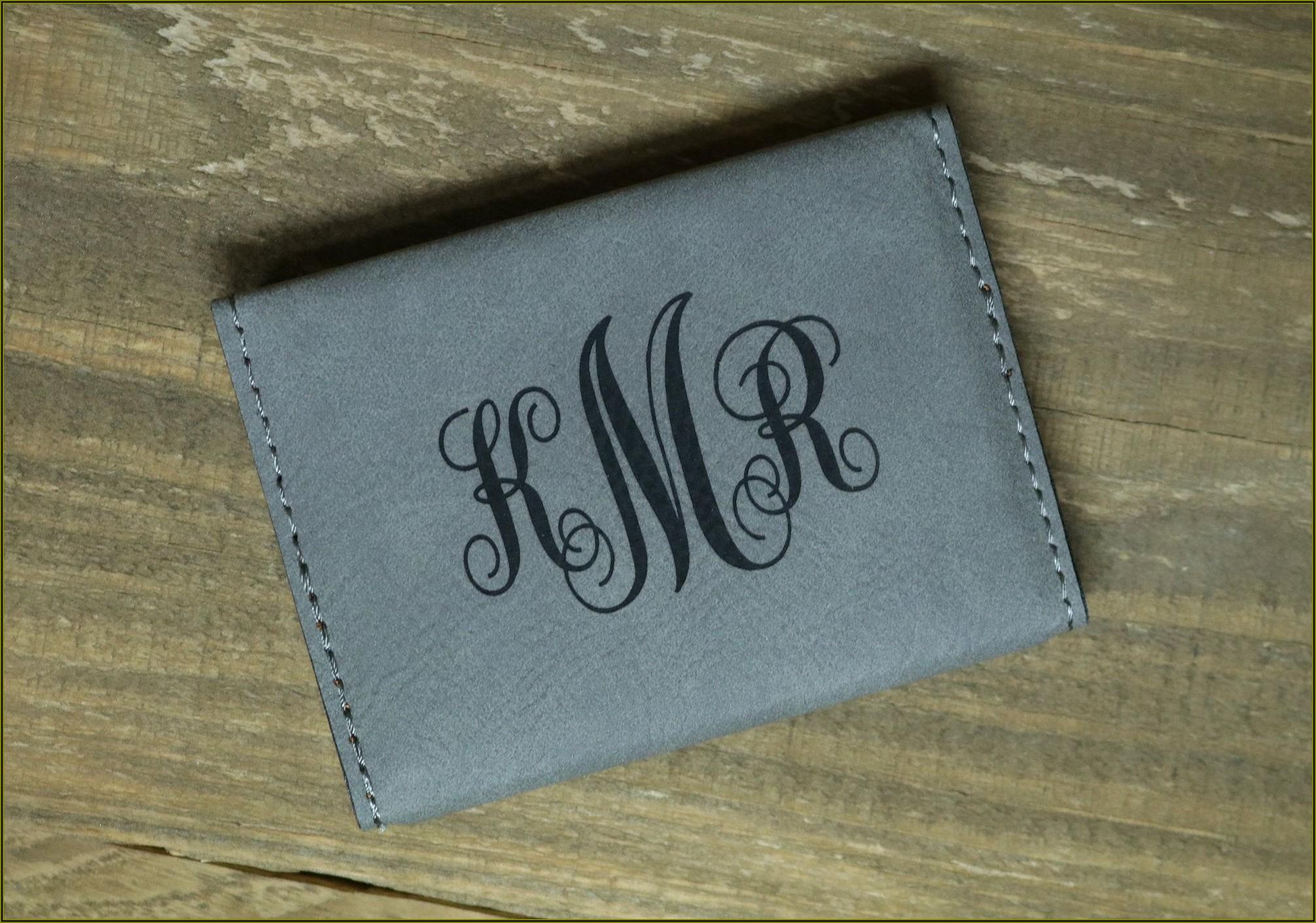Monogrammed Business Card Holder Leather