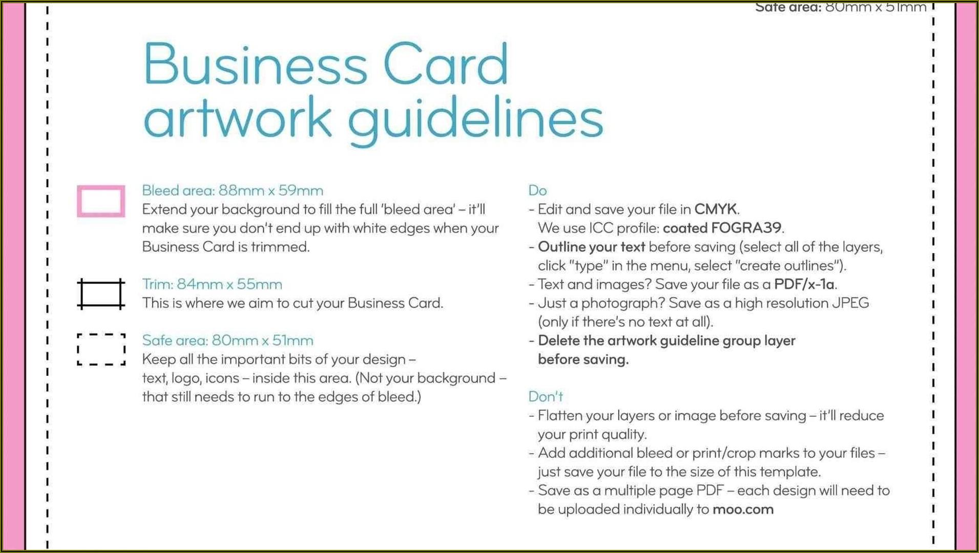 Moo Business Card Template Illustrator