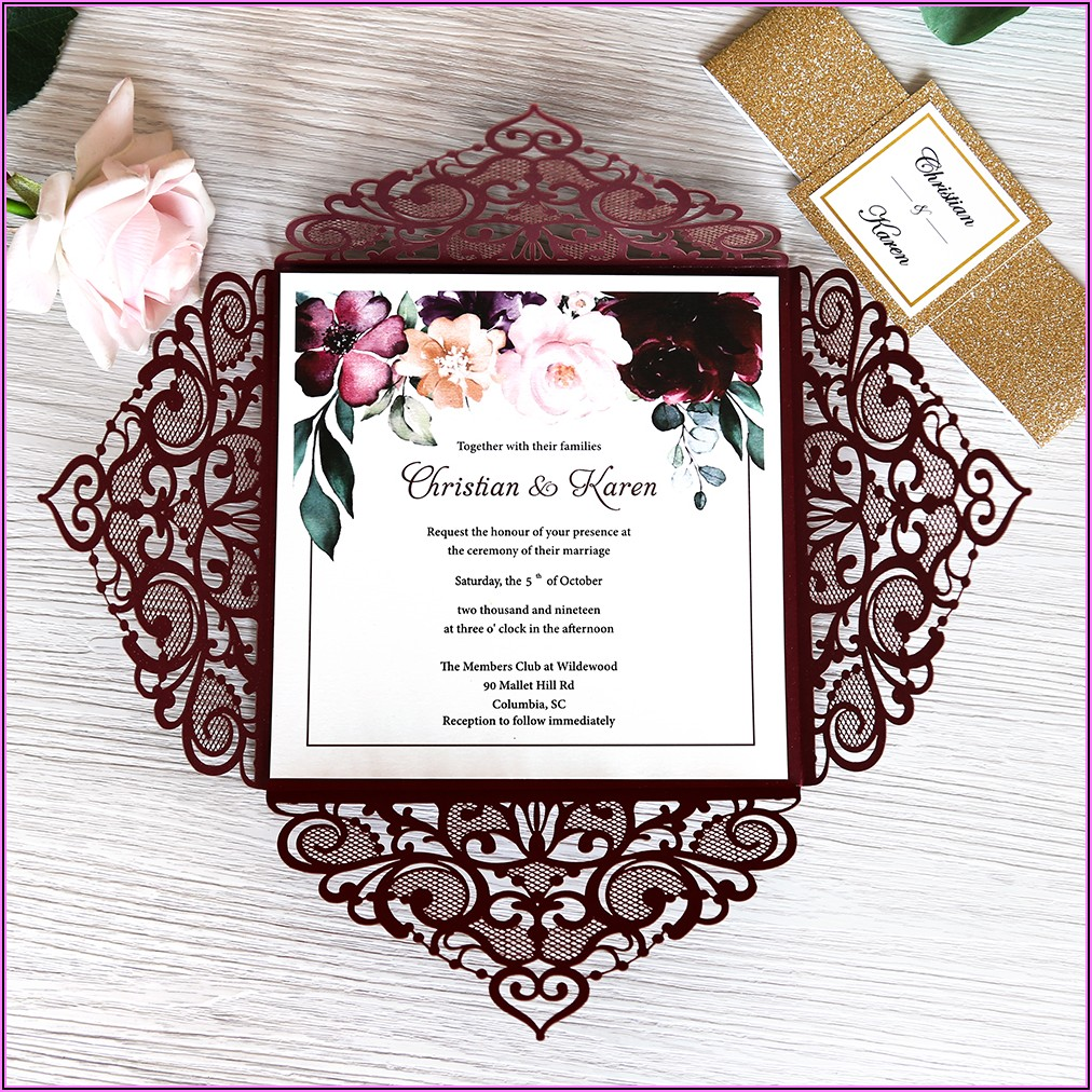 Navy And Burgundy Wedding Invitations