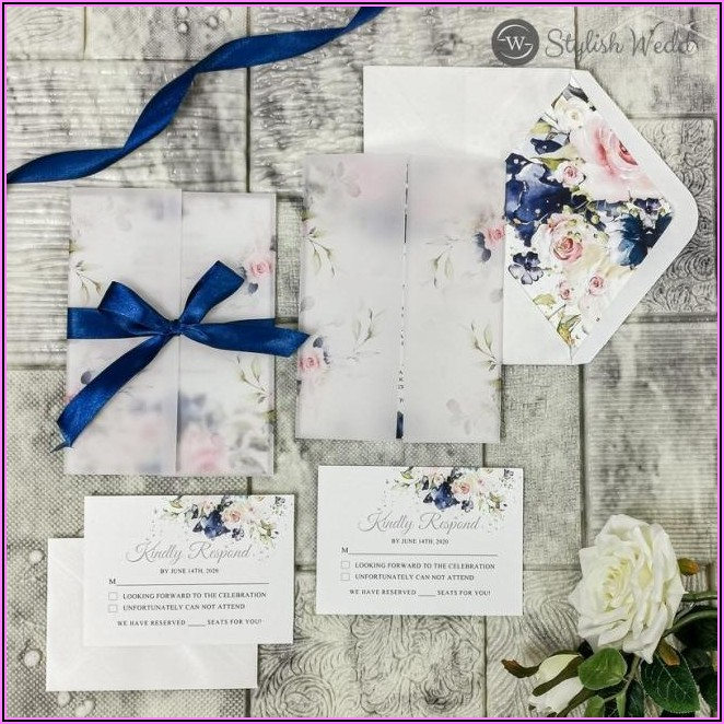 Navy And Pink Floral Wedding Invitations