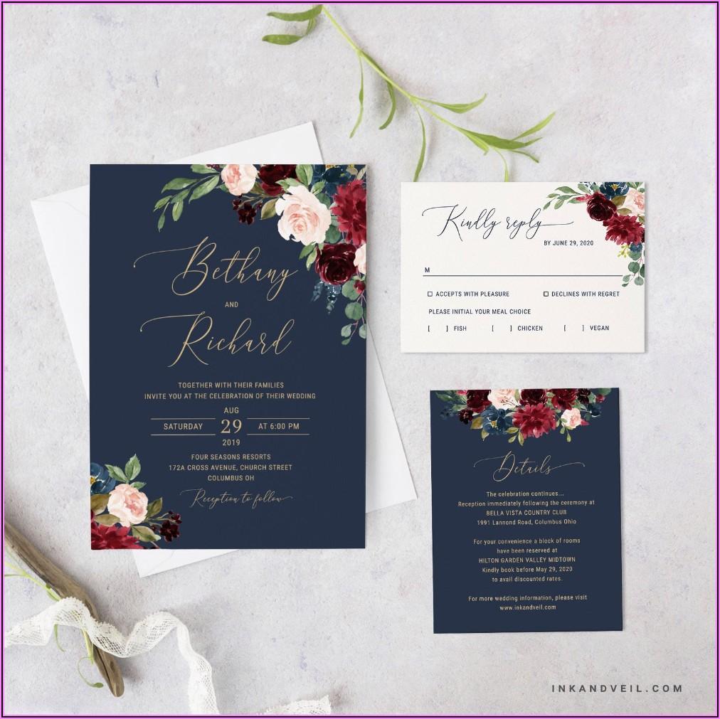 Navy Burgundy Wedding Invitation Set