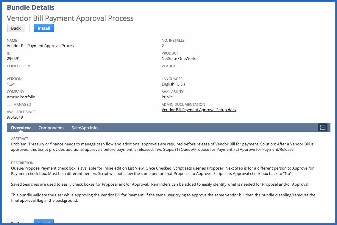 Netsuite Bill Approval Workflow