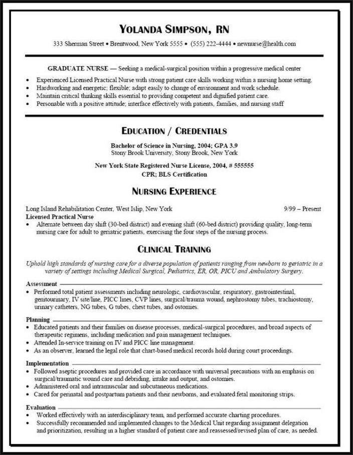New Grad Registered Nurse Resume Sample