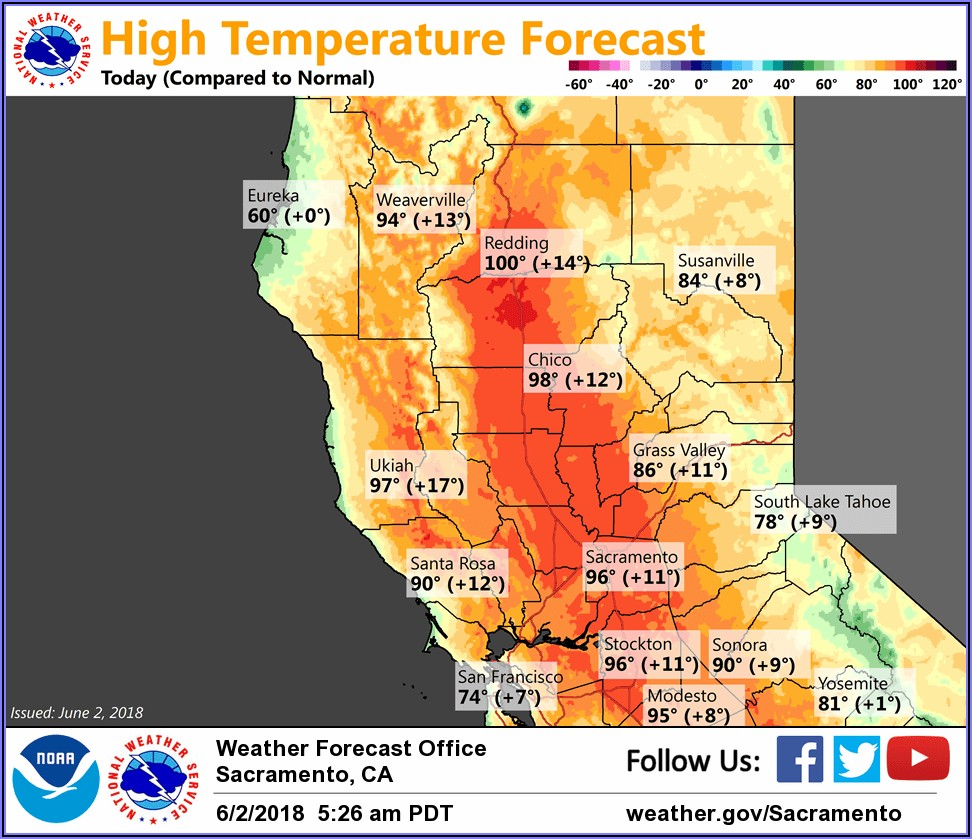 Northern California Weather Temperature Map