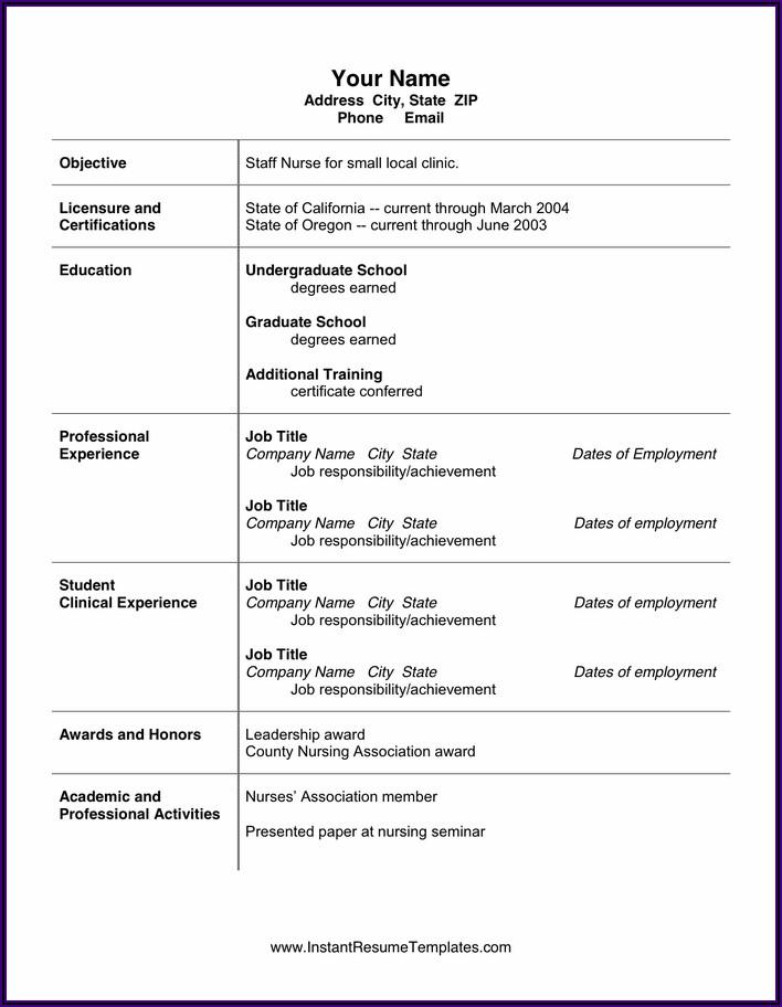 Nursing Resume Format Free Download Pdf