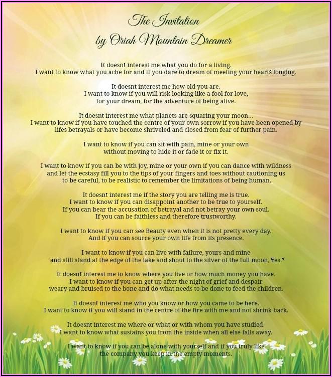 Oriah Mountain Dreamer The Invitation Deutsch