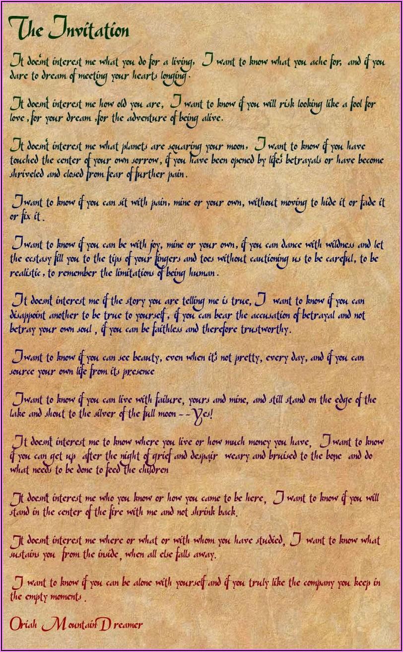 Oriah Mountain Dreamer The Invitation Framed